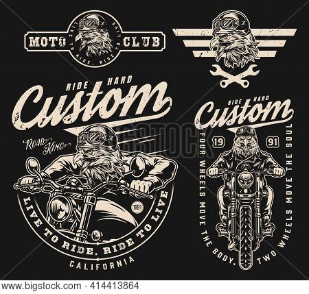 Custom Motorcycle Vintage Labels Set With Dangerous Eagle Motorcyclists Crossed Spanners And Angry F