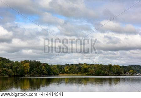 The Hudson River in early fall seen from Coxsackie, New York, horizontal format.