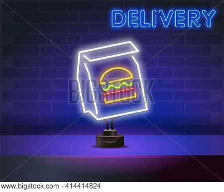 Neon Burger In A Bag Delivery Logo In Neon Style. Neon Sign, Light Banner, Design Template, Night Ne