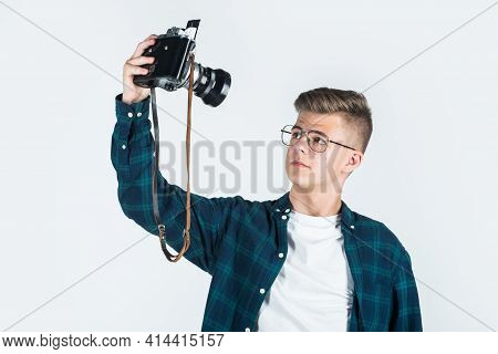 Teen Boy Wear Casual Shirt With Retro Photo Camera Making Selfie Isolated N White, Photographing