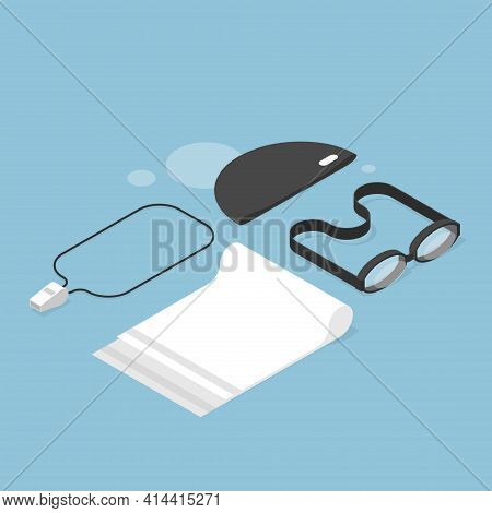 Vector Isometric Swimming Concept Illustration. Swimming Related Objects - Swim Goggles, Cap, Whistl