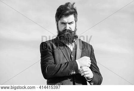 Job Promotion. Businessman Against Sky. Future Success. Formal Fashion. Brutal Caucasian Hipster Wit