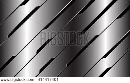 Abstract Silver Black Line Circuit Cyber Geometric Slash Design Modern Luxury Futuristic Technology