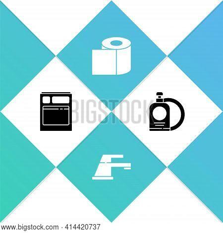 Set Kitchen Dishwasher Machine, Water Tap, Toilet Paper Roll And Dishwashing Liquid Bottle And Plate