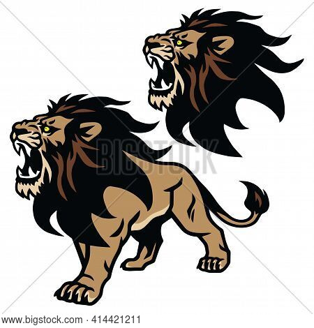 Angry Lion Roaring Head Stand Stance Esport Mascot Vector Logo Pack Set Collection