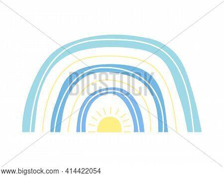 Hand Drawn Blue Minimalist Boho Rainbow With Yellow Sun. Easter Vector Rainbow. Spring Rainbow For B