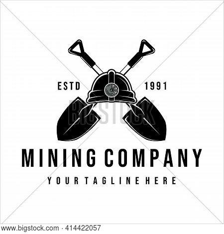 Shovel Or Trowel Logo Vector Vintage Illustration Design. Helmet Shovel Or Trowel Logo Concept For M
