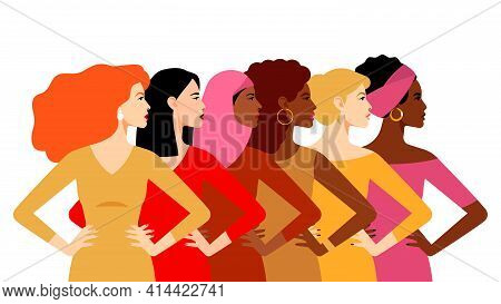 Multi-ethnic Women. Women Different Cultures. The Struggle For Rights And Equality. Female Empowerme