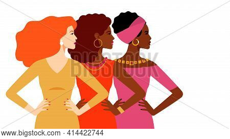 Multi-ethnic Women Together. Women Different Nationalities And Cultures. The Struggle For Rights And