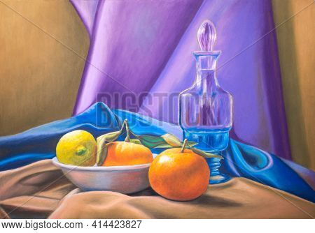 Still life with lemon, tangerines and some colofrul drapings. Oil pastel on paper.