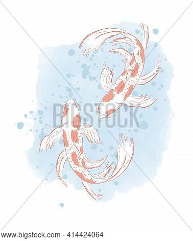 Cute Koi Fish Vector Illustration. Two White Fishes With Red Spots Isolated On A Pastel Spotted Wate