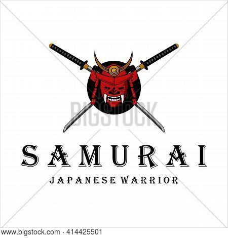 Katana And Armour Helmet And Mask Logo Vintage Vector Illustration Logo Template Design . Japanese A