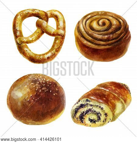 Watercolor Illustration Bun Set. Rich Pastries. Sesame Seed Bun. Poppy Seed Bun. Cinnamon Bun. Sesam