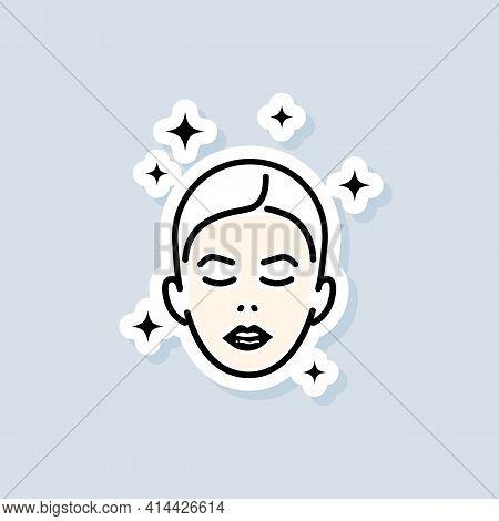 Face Mask Sheet Sticker. Skin Care Concept. Beauty Skin Logo. Vector On Isolated White Background. E
