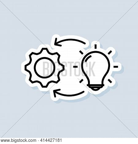 Implementation Sticker. Lamp With Gears. Vector On Isolated Background. Eps 10.