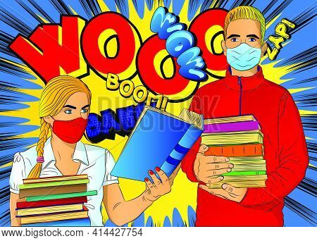 Male And Female Student, Boy Carrying A Stack Of Books, Girl Reading, Wearing Face Mask. College Uni