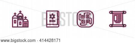 Set Line Church Building, Jainism, Jewish Torah Book And Decree, Paper, Parchment, Scroll Icon. Vect
