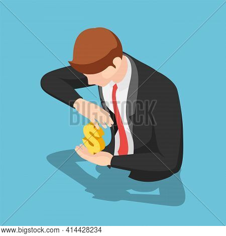 Flat 3d Isometric Businessman Protecting Dollar Sign. Money Protection Concept.