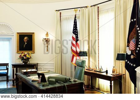AUSTIN, TEXAS - 22 MAY 2017: Presidents Desk closeup ain the Oval Office replica at the Lyndon B. Johnson Presidential Library at the University of Texas at Austin.