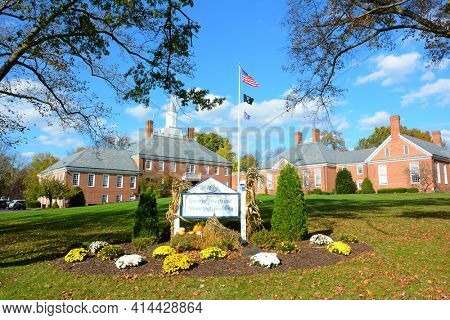 WESTFIELD, NEW JERSEY - 02 NOV 2019: Sign and structure at The Town of Westfield Municipal Building.