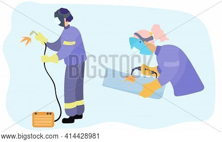 Woman And Man Welders. Welder And Welding Service Concept. Vector Illustration.