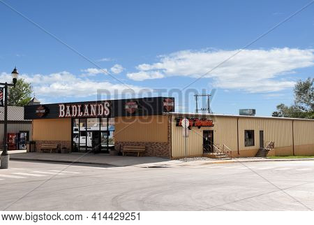 WALL, SOUTH DAKOTA - 22 JUNE 2017: Badlands Harley-Davidson Shop in the popular tourist town on Interstate 90.