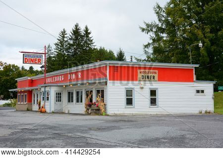 MIDDLEBURGH, NEW YORK - SEPT 28, 2018: Middleburgh Diner on main Street in upstate New York in Schoharie County.