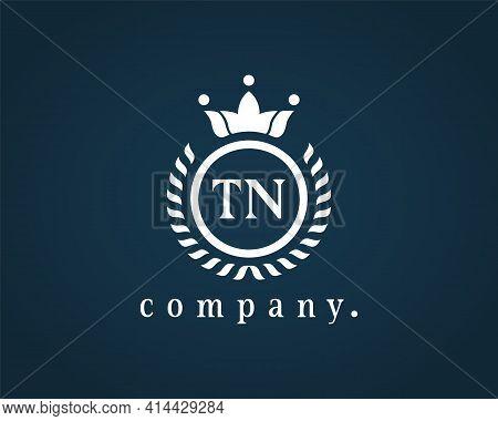 Letter Tn, T N Luxury Royal Style Logo Template. Beautiful Laurel Wreath Alphabet Monogram. Vector E