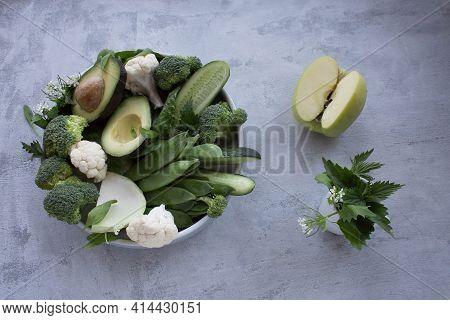 Nettle Vitamin K Green Food Set Vitamin Set With Apple, Cucumber And Avocado . Vegan And Vegetarian