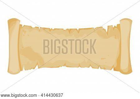 Parchment Banner, Scroll Paper In Cartoon Style Isolated On White Background. Ui Game Asset Design.