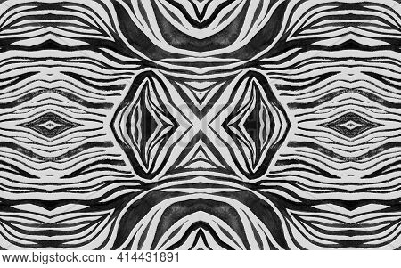 Seamless Zebra Lines. Fashion African Design. Watercolor Tiger Skin. White Camouflage Ornament. Blac
