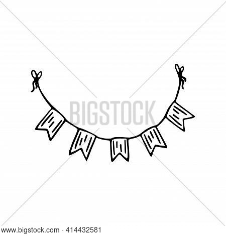 Single Hand Drawn Buntings Flags Garlands Isolated On White Background. Doodle, Simple Outline Illus