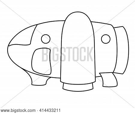 Small Spaceship - Vector Linear Illustration For Coloring. The Spaceship Sits On The Surface - A Fan