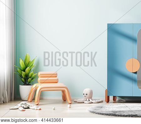 Children Room Interior Mock Up With Blue Wall And Colorful Furniture, Modern Kids Room Interior, Nur
