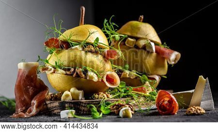 Appetizer Sandwiches With Pear, Prosciutto Or Spanish Jamon, Pears, Camembert, Walnut And Microgreen