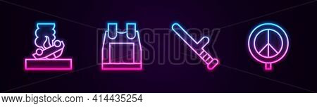 Set Line Burning Car, Bulletproof Vest, Police Rubber Baton And Peace. Glowing Neon Icon. Vector