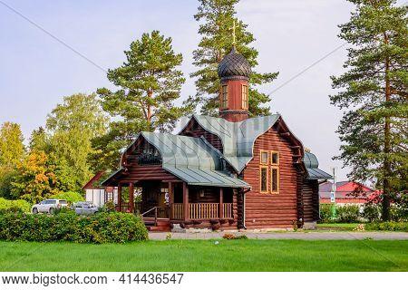 Melnikovo Village, Leningrad Region, Russia - September 25, 2020: Beautiful Wooden Orthodox Church I