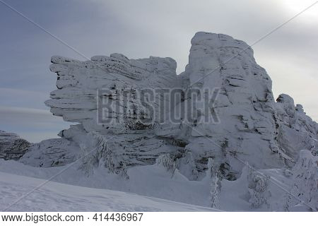 Rocks Covered With A Layer Of Snow After A Heavy Snowstorm