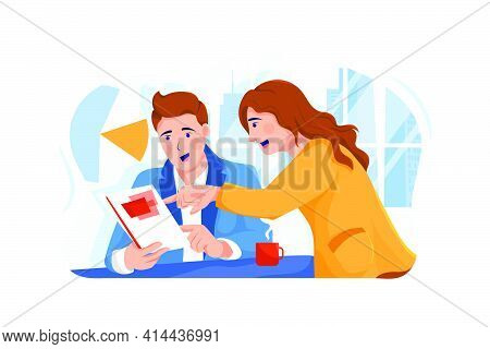 Two Businessmen Are Discussing Business Coaching. Business Coaching Illustration Concept. Can Use Fo