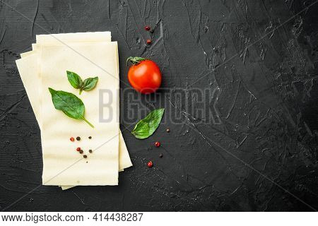 Lasagna Dough Sheets Set, With Seasoning And Herb, On Black Stone Background, Top View, Flat Lay, Wi