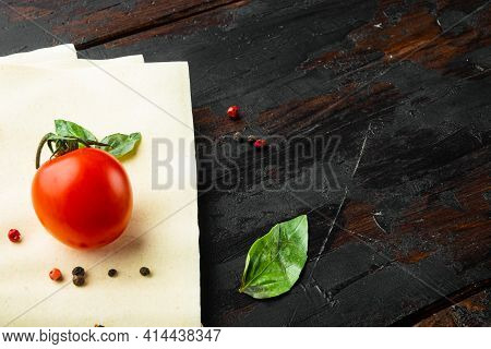 Uncooked Lasagna Sheets Set, With Seasoning And Herb, On Old Dark  Wooden Table Background, Top View