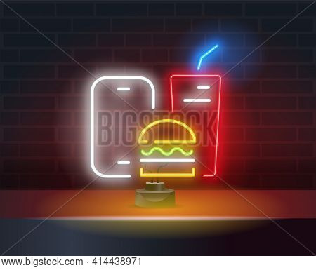 Food Delivery Neon Sign. Smartphone, Ordering Food Through Smartphone, Symbol In Neon Style, Light B