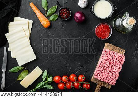 Empty Space Clean Frame  Set The Concept Of Cooking Lasagna. Italian Ingredients, Lasagna Sheets Mea