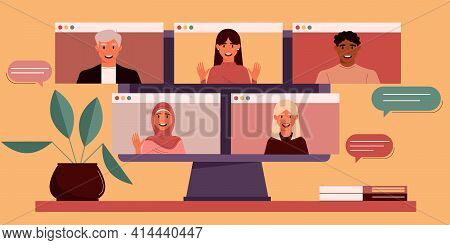 Monitor With A Group Of Colleagues Or Students Of Different Nationalities, Including Men And Women T