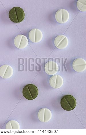 Purple Vertical Background On The Theme Of Medicine, Health Care, Drugs, Pharmacology. Light And Dar
