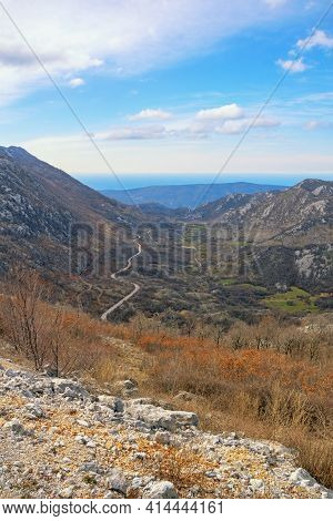 Beautiful Mountain Landscape. Mountain Range Of Dinaric Alps On Sunny Day In Early Spring. Adriatic