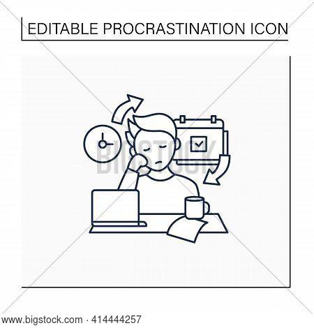 Chronic Procrastination Line Icon.unhappy Statistic.tired Person At Workplace. Routine Procrastinati