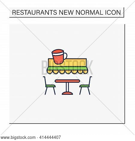 Terrace Cafe Color Icon. Dinner In Restaurant Terrace. Forced Distance. Regulation Through Covid19.