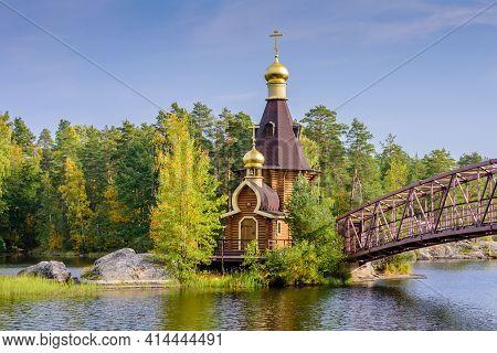 Sightseeing Of Russia. The Church Of St. Andrew On Vuoksa Lake, Leningradskaya Oblast, Russia
