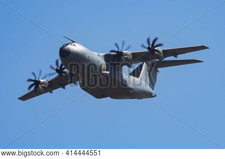 Fairford, United Kingdom - July 12, 2018: German Air Force Luftwaffe Airbus A400m Atlas 5410 Transpo